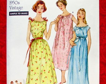 136859ab38c Simplicity Easy Sewing Pattern 8799 1950 s Sleeveless Nightgowns