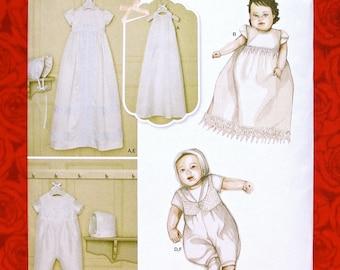 McCall/'s #7718 Layette Christening Sew Pattern Infant Dress Slip Cap Bonnet Bib