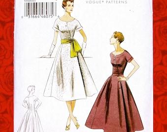 Vogue Sewing Pattern V9105, Retro Dress, Asymmetric Button Closure, Sash, Sizes 14 16 18 20 22, 1950's MCM Semi-Formal Wedding Party, UNCUT