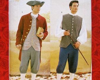 Butterick Sewing Pattern 3072 Men's Historical Costumes, 1700's Georgian Colonial, Sizes 38 40 42, Coat Vest Shirt Pants, Tricorn Hat, UNCUT