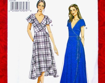 7596384207 Vogue Easy Sewing Pattern V9251, Fitted Wrap Dress, Midi or Maxi, Sizes 8  10 12 14 16, Special Occasion Party, Spring Summer Fashion, UNCUT