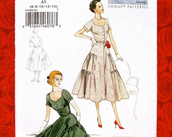 Vogue Sewing Pattern V9106, Retro Tiered Ruffled Dress, New Look Style, Sizes 6 8 10 12 14, 1950's MCM Semi-Formal Spring Summer Wear, UNCUT