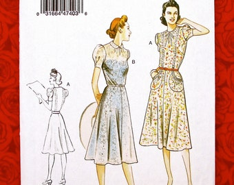 8a091d0ae4927 Vogue Sewing Pattern V9294, 1930's Fit Flare Dress, Short Sleeve, Sizes 6 8  10 12 14, Retro Fashion, DIY Spring Summer Day Sportswear, UNCUT