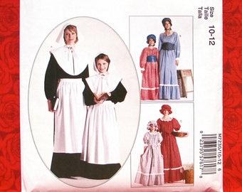 McCall's Sewing Pattern M7230 Colonial Pilgrim Pioneer Costumes, Dresses, Apron, Bonnet, Mob Cap, Collar, Corselet, Girls' Size 10 12, UNCUT