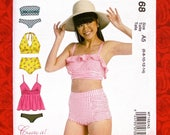 McCall 39 s Sewing Pattern M7168, Two Piece Swimsuits, Bikini, Halter Top, Bandeau, Sizes 6 8 10 12 14, Beach Pool Exercise, Resort Wear, UNCUT