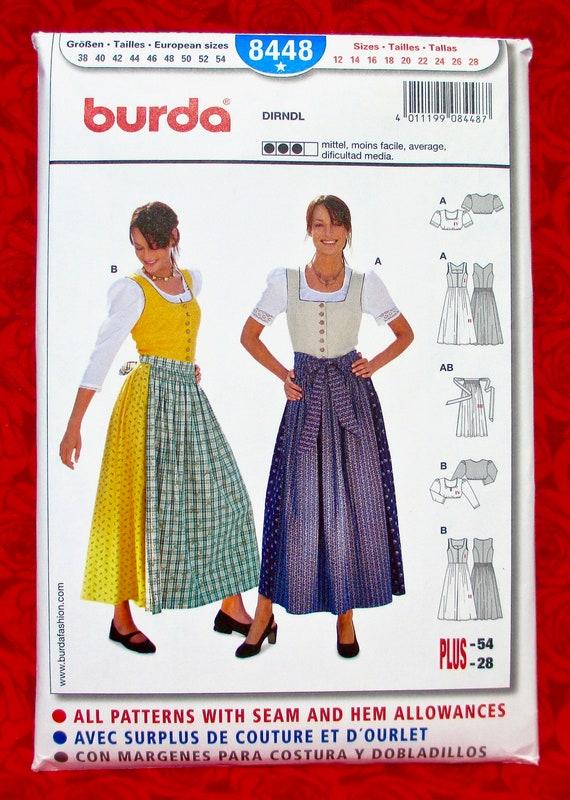 Burda Sewing Pattern 8448 Misses Dirndl Dress Size 12-28
