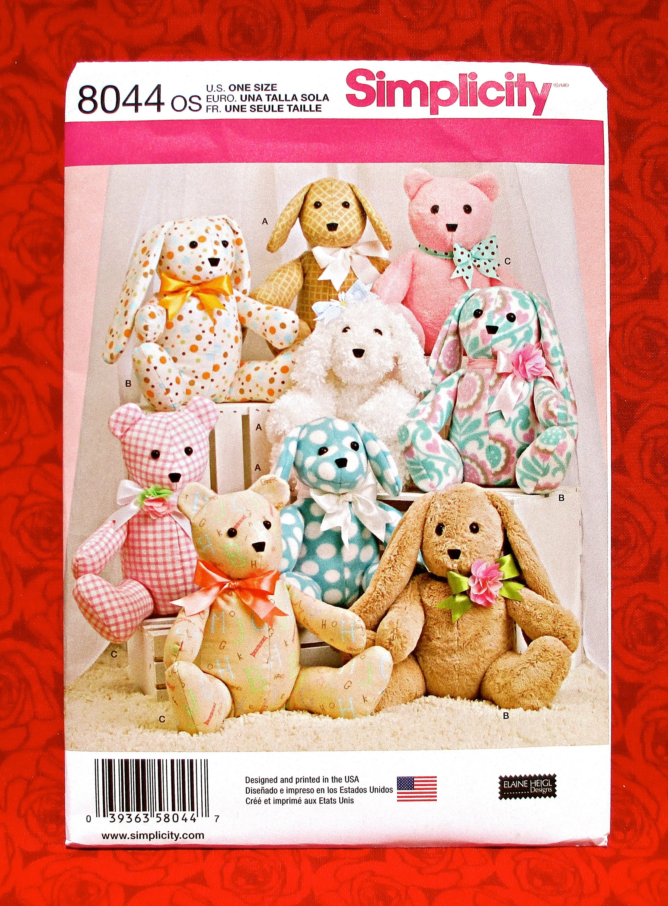 Simplicity Sewing Pattern Soft Toy 8044 OS