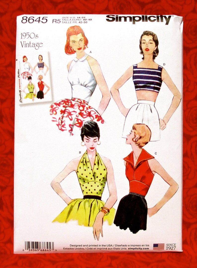 583bc43f93 Simplicity Sewing Pattern 8645 Halter Sun Tops 1950's | Etsy