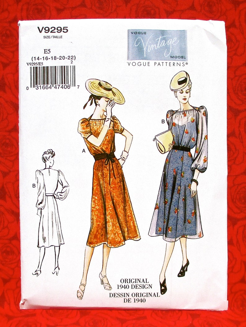 Vogue Sewing Pattern V9295 1940's Fit Flare Dress Tucks image 0