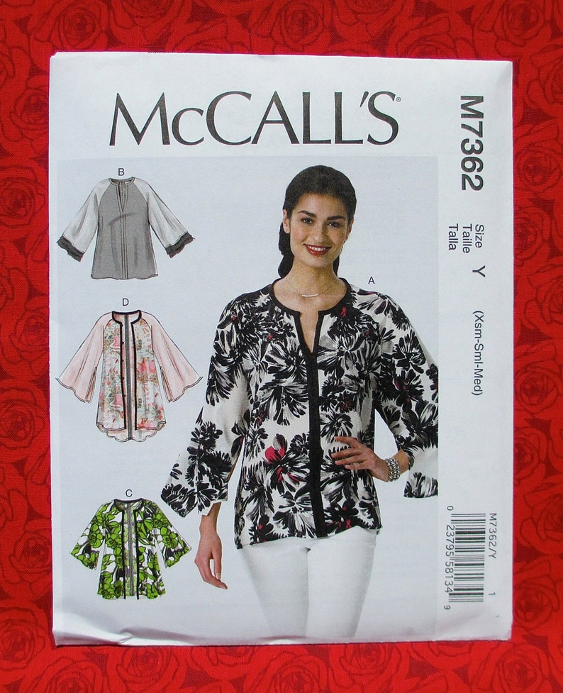 dada7e4c10 McCall s Sewing Pattern M7362 Loose Fitting Tunic Top