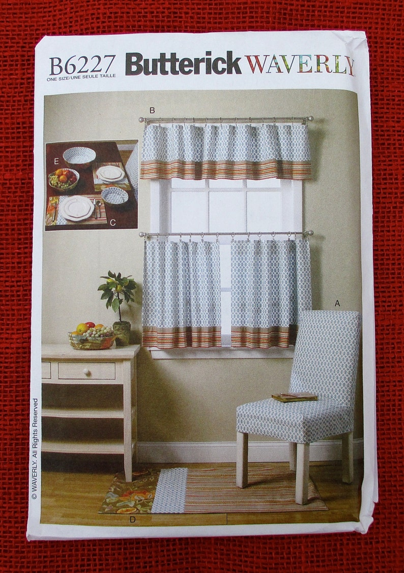 Groovy Butterick Waverly Sewing Pattern B6227 Chair Slipcover Curtains Valance Placemats Rug Fabric Bowls Kitchen Decor Diy Home Accent Uncut Inzonedesignstudio Interior Chair Design Inzonedesignstudiocom