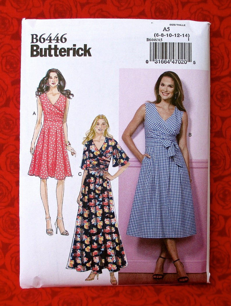 9d11f638d0af Butterick Easy Sewing Pattern B6446 Pleated Wrap Dresses Maxi | Etsy