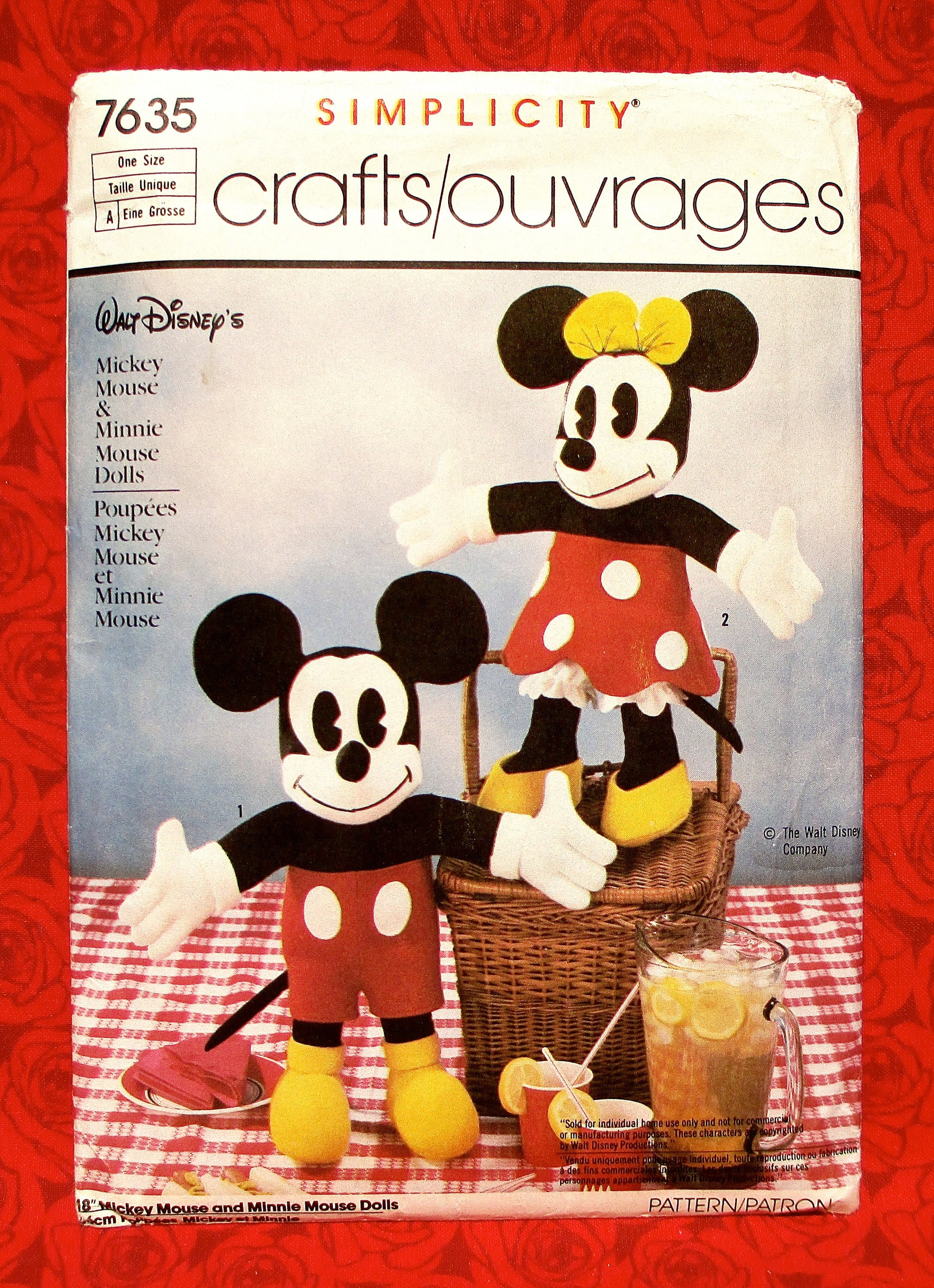 Simplicity Vintage Sewing Pattern 7635 Mickey Minnie Mouse
