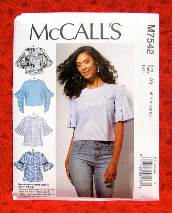 McCall\'s Easy Sewing Pattern M7542 Semi-Fitted Tops | Etsy