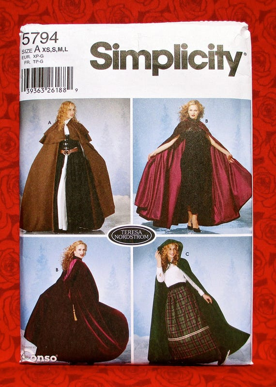 Simplicity Sewing Pattern 5794 Long Cape Cloak Victorian | Etsy