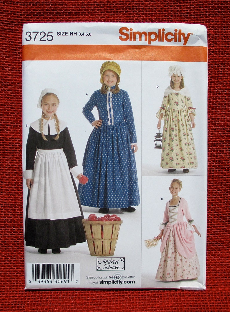 82ef5ecc289 Simplicity Sewing Pattern 3725 Costume Dress Colonial