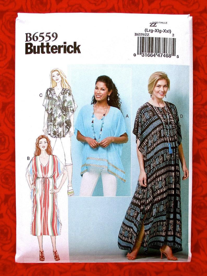 Butterick B6559 Easy Sewing Pattern, Caftan, Tunic Tops, Loose Fitting  Blouse Dress, Sizes L XL XxL, DIY Summer Fall Casual Fashion, UNCUT