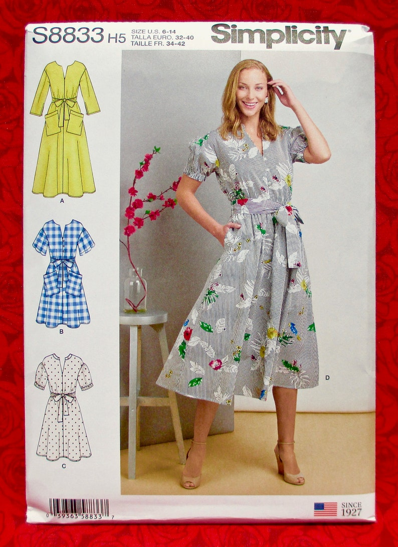 Simplicity Sewing Pattern S8833 Pullover Dress V-Neck Tie image 0