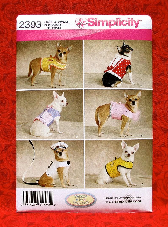 c9a1a65172f Simplicity Sewing Pattern 2393 Dog Fashion Vest Coat Hat