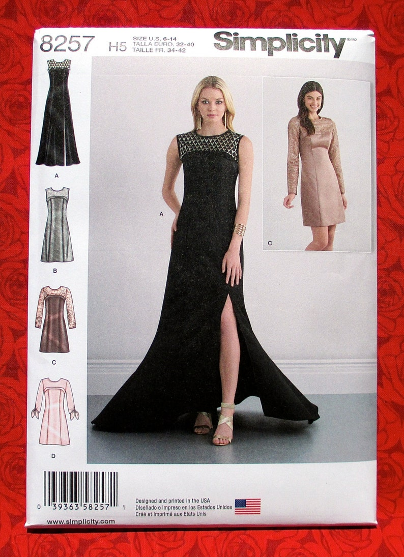 Simplicity Sewing Pattern 8257 Evening Gown Semi-Formal  2eb06997e