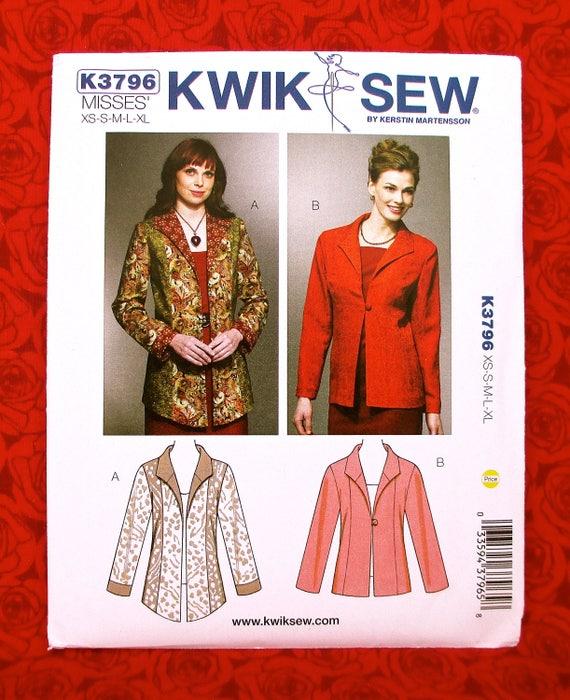 S K4071 New Kwik Sew Sewing Pattern For Misses Jackets Size XS XL M L