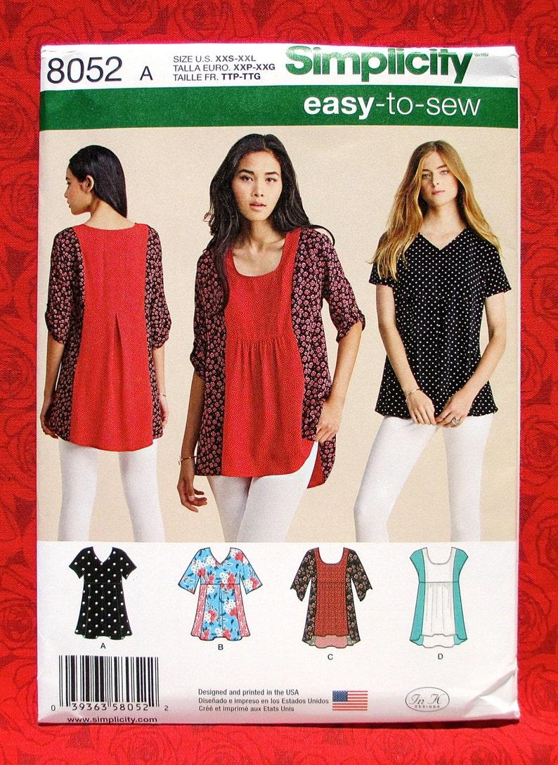 Simplicity Easy Sewing Pattern 8052 Loose Fit Tops Hi-Lo Hem Tunic, Sizes  XxS Xs S M L XL XxL, Contrast Panel Blouse, Boho Chic Shirt, UNCUT