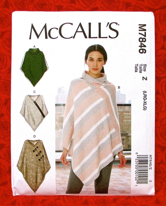 Mccall S Easy Sewing Pattern M7846 Poncho Cape Wrap Fall Etsy