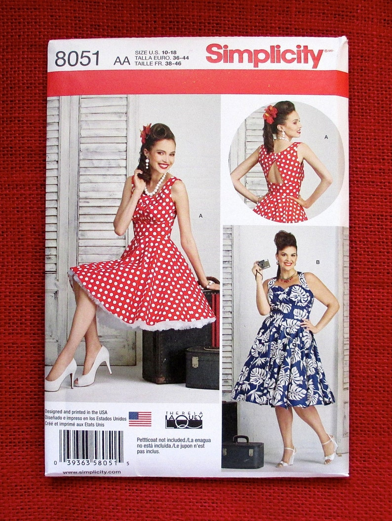 59083e90641f44 Simplicity Sewing Pattern 8051 Dresses Rockabilly 1950 s