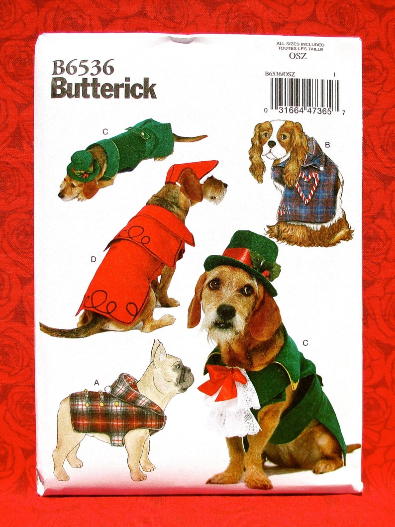 f96b2a64941 Butterick Sewing Pattern B6536 Dog Coats Hats Hooded Jacket