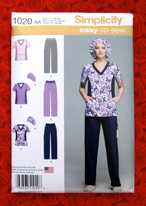 Simplicity Easy Sewing Pattern 1020 Scrubs Pants Tops Hat Cap Etsy