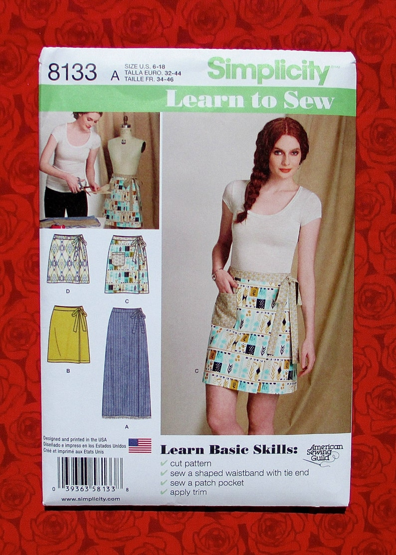 Simplicity Easy Sewing Pattern 8133, Casual Wrap Skirt, 3 Lengths, Misses'  Sizes 6 8 10 12 14 16 18, Spring Summer Fashion Sportswear, UNCUT