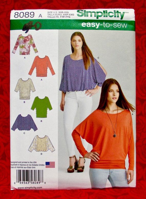Simplicity Easy Sewing Pattern 8089 Knit Top, Batwing Sleeve, Sizes XXs Xs  S M L XL XXL, Boho Modern Fashion, Loose Fit Casual Blouse, UNCUT