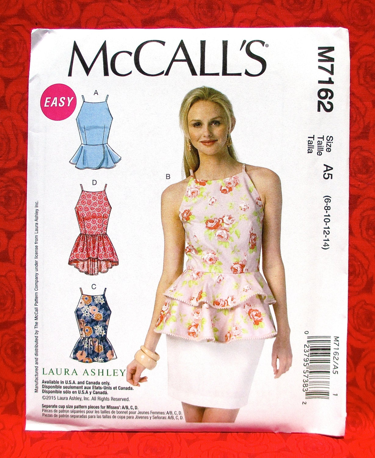 McCall\'s Easy Sewing Pattern M7162, Sleeveless Peplum Blouse Top ...