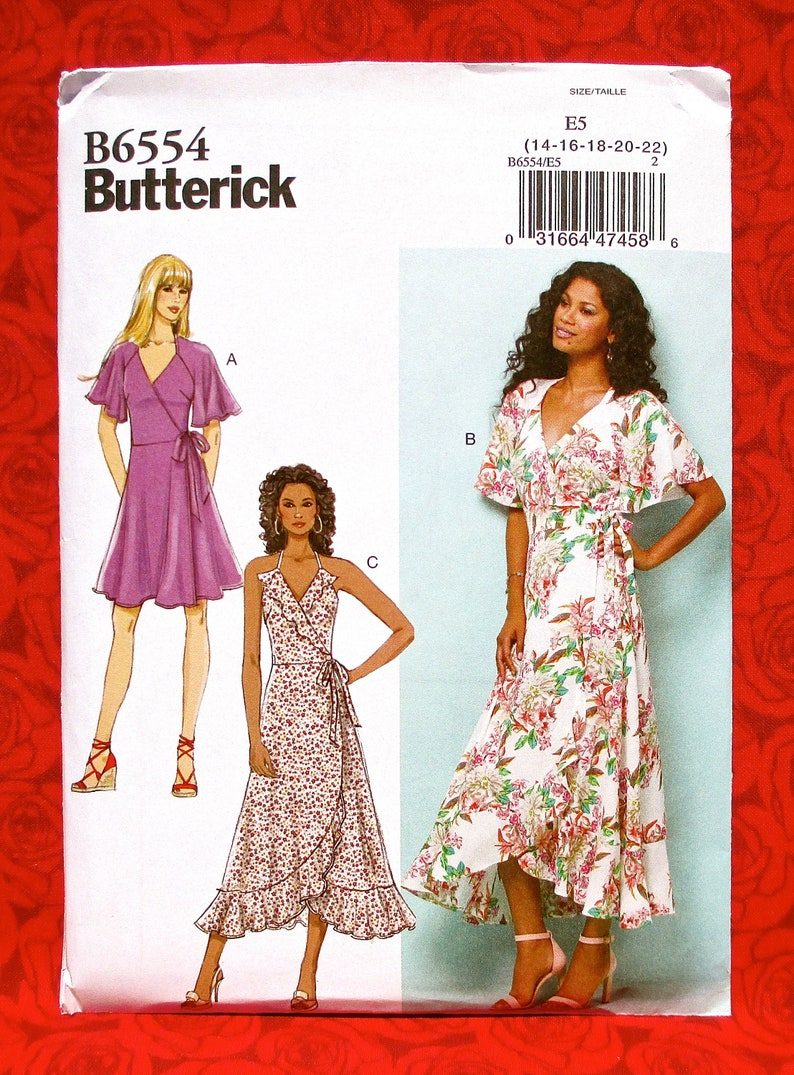 Butterick Easy Sewing Pattern B6554, Wrap & Tie Dresses, Sundress, Ruffle Flounce Hem, Plus Sizes 14 16 18 20 22, DIY Summer Fashion, UNCUT
