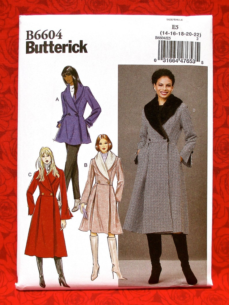 fe0e1cabd0f Butterick Sewing Pattern B6604 Fitted Shawl Collar Coats