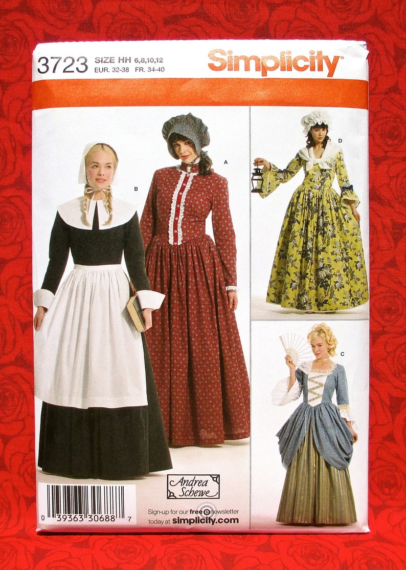 caea85b4c11 Simplicity Costume Sewing Pattern 3723 Colonial Pilgrim
