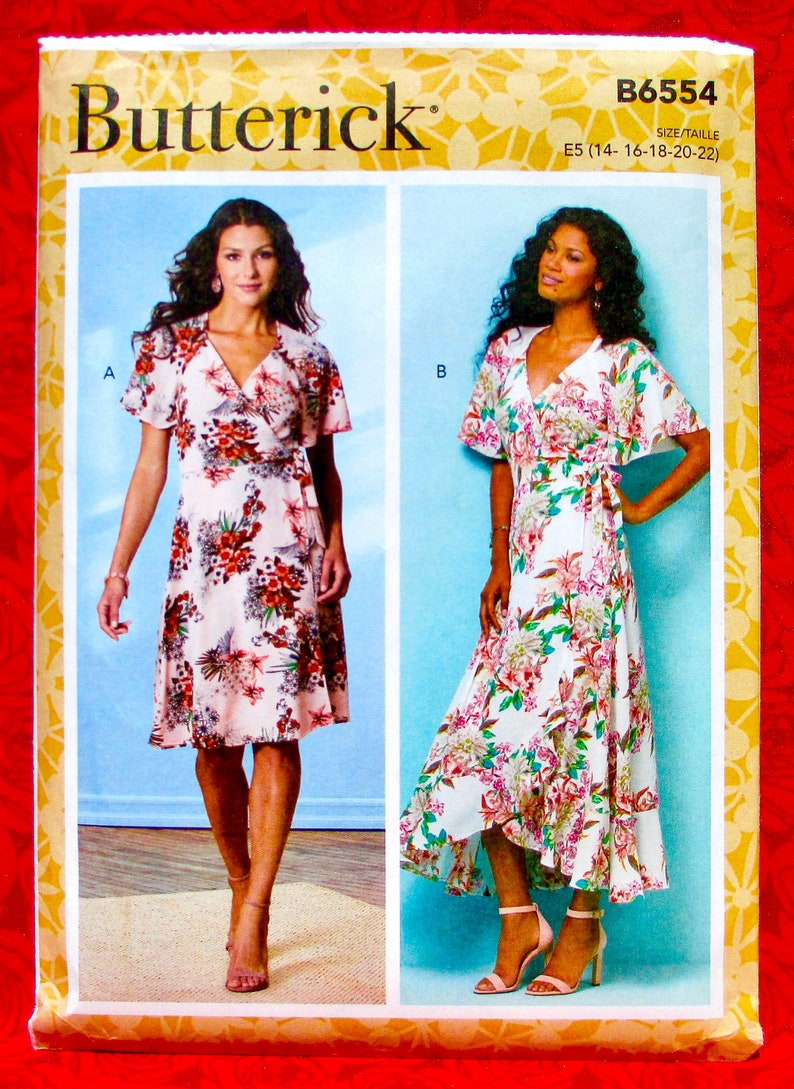 Butterick Easy Sewing Pattern B6554 Wrap & Tie Dresses image 0