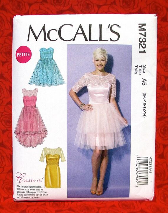 Mccalls Sewing Pattern M7321 Formal Dress Short Evening Etsy