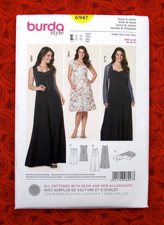 Burda Sewing Pattern 6947, Formal Dress Bolero Jacket, Plus Sizes 18 - 34,  Special Occasion Evening Gown, Wedding Bridal Party Topper, UNCUT