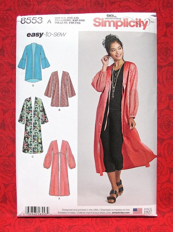 c6929ce28d9 Simplicity 8553 Easy Sewing Pattern Kimono Jacket Hi Lo Coat