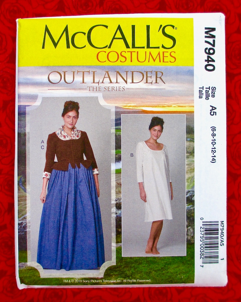 M7940 Sewing Pattern Costume Boned Lined Peplum Jacket Chemise OUTLANDER Series