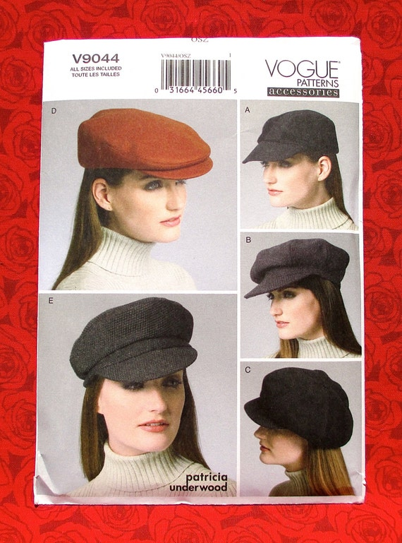 Vogue Sewing Pattern V9044 Flat Ivy Cap Newsboy Cabbie Hat  e2a756ce162