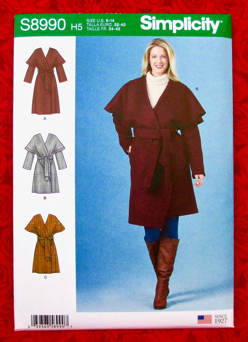 Simplicity Sewing Pattern S8990 Wrap Coat Oversized Cape image 0