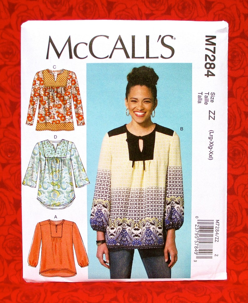 McCall's Easy Sewing Pattern M7284 Tunic Top Loose image 0