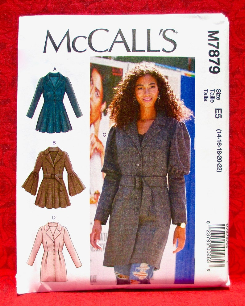 Fit Flared Jacket Coat Button Front Lapel Collar Sewing Pattern 14 16 18 20 22