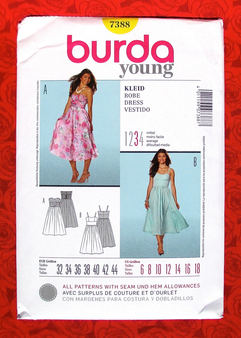 5d9f6f790a75a9 Burda Sewing Pattern 7388 Sweetheart Neckline Dress Full | Etsy