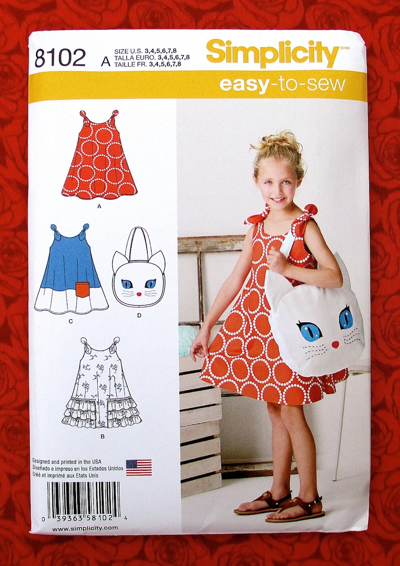 Simplicity Easy Sewing Pattern 8102 Sundress, Kitty Tote Bag Purse, Girl's  Sizes 3 4 5 6 7 8, Cat Face Appliqué, Summer Fashion Dress, UNCUT
