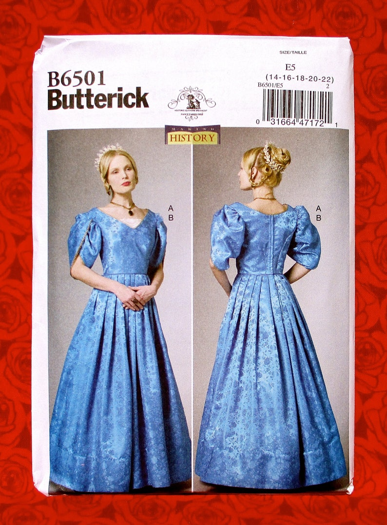6d5b52928732 Butterick Sewing Pattern B6501 Victorian Gown Tulip Sleeves | Etsy