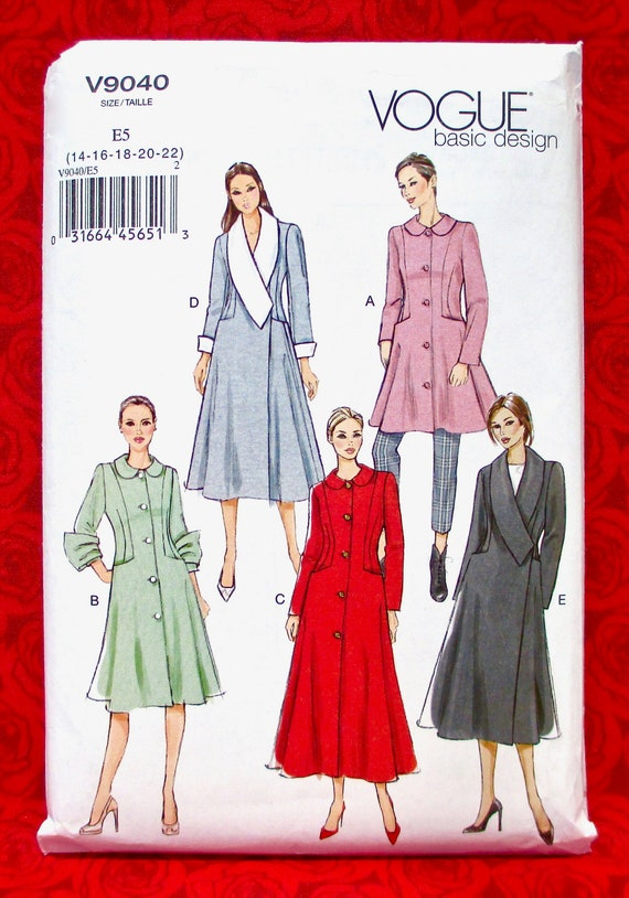 V9040 Vogue 9040 Sewing Pattern Misses Fall Winter Lined Flared Coats Jacket NEW