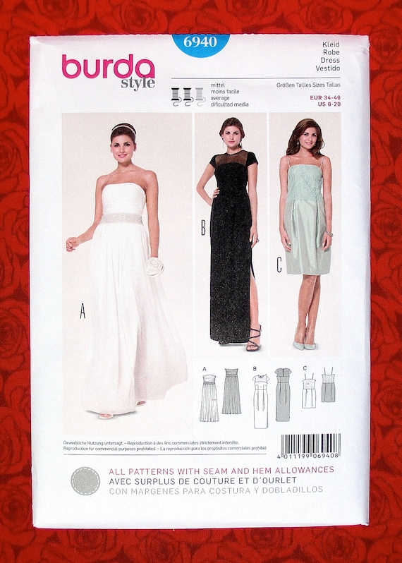 Burda Sewing Pattern 6940 Bridal Gown Formal Evening Dress | Etsy